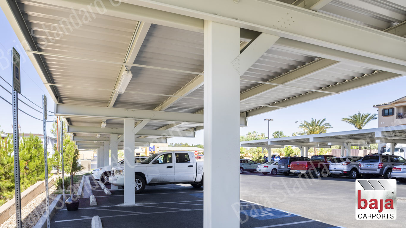 Braced Single Post Bolted connection standard carport with roof deck coverage