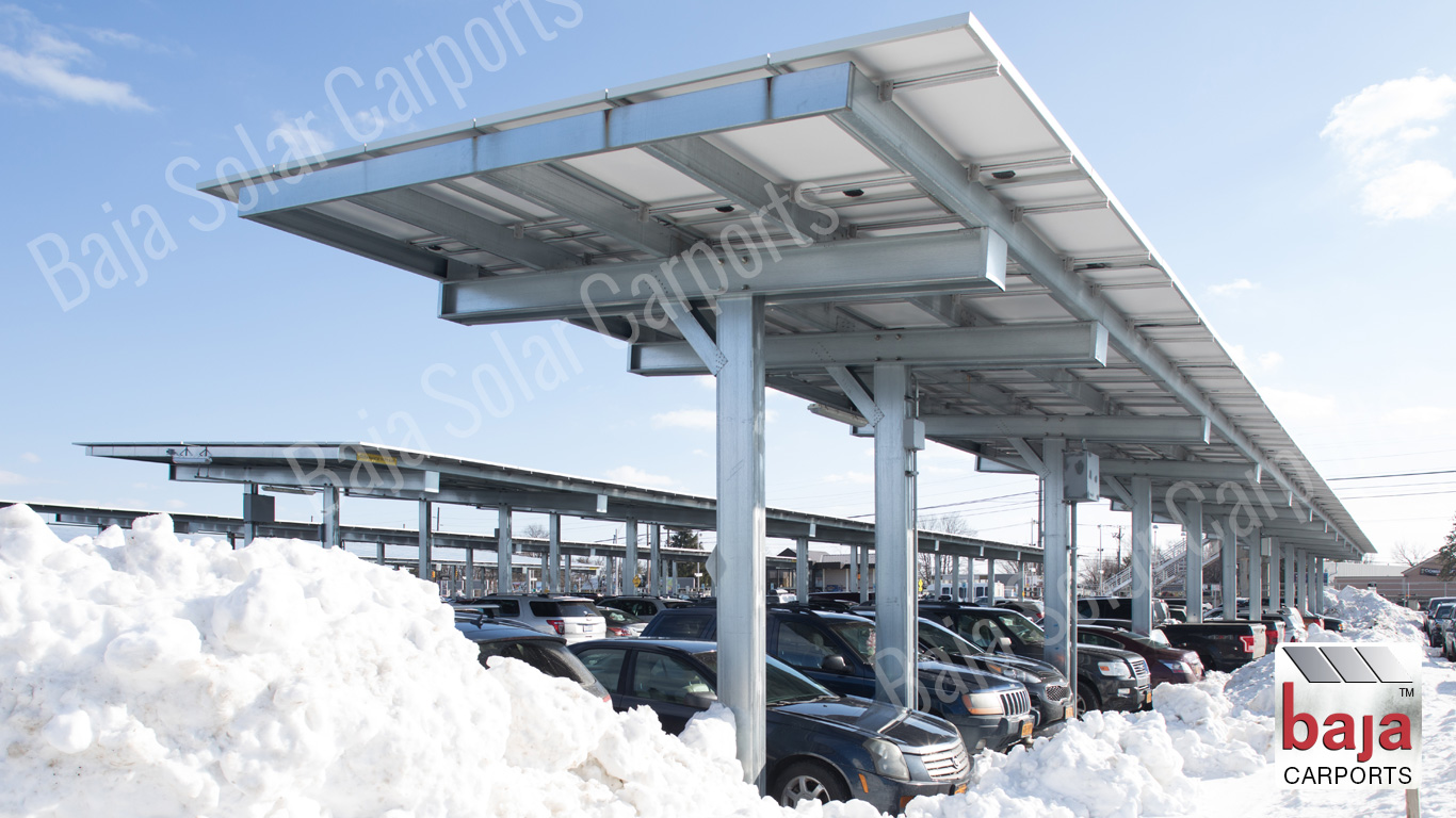 Solar carport installer Braced Single Post desinged covers one row