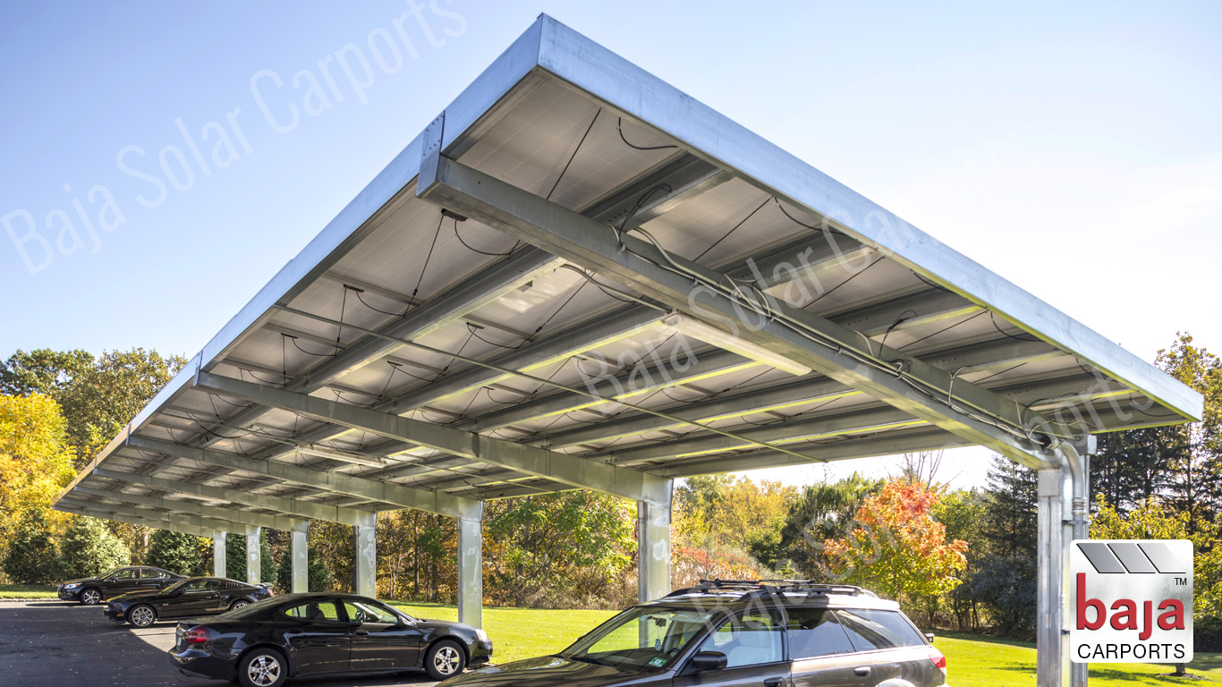 Full cantilever solar carport by leading solar carport installer Baja Carports