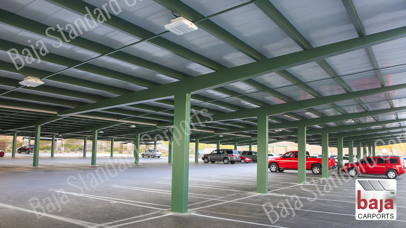 Full Cantilever T Standard Carport covers two rows back to back