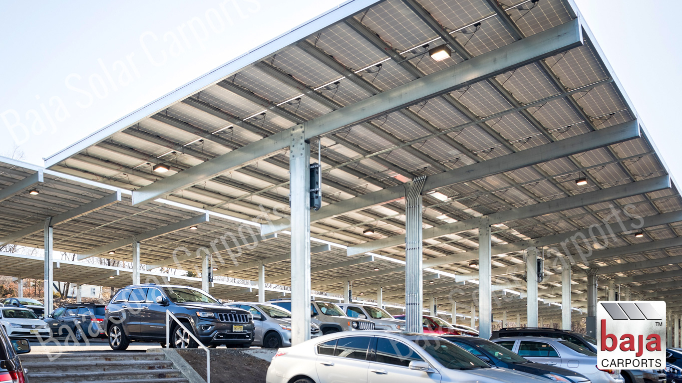 Solar Carport covers two rows Full Cantilever T solar carport installer Baja Carports
