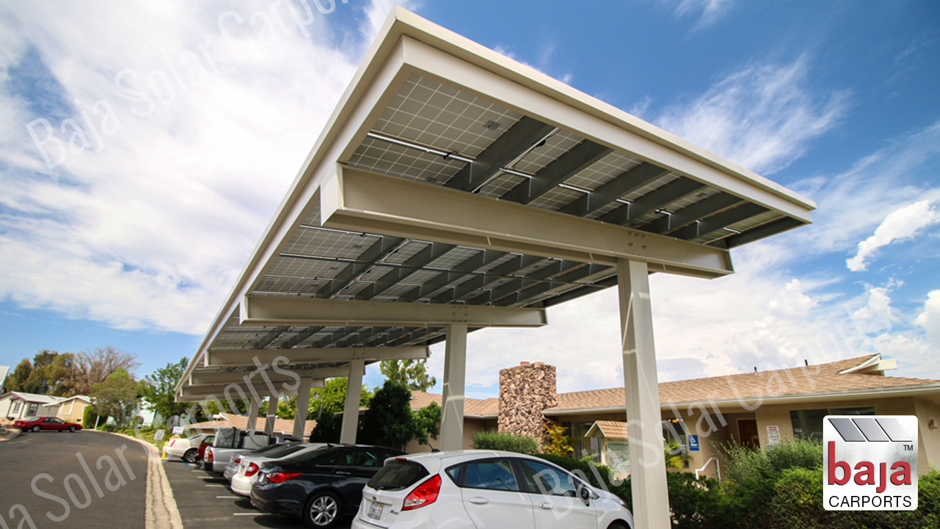 Solar Carport installer carport called a Semi Cantilever Offset Open Cee Beam