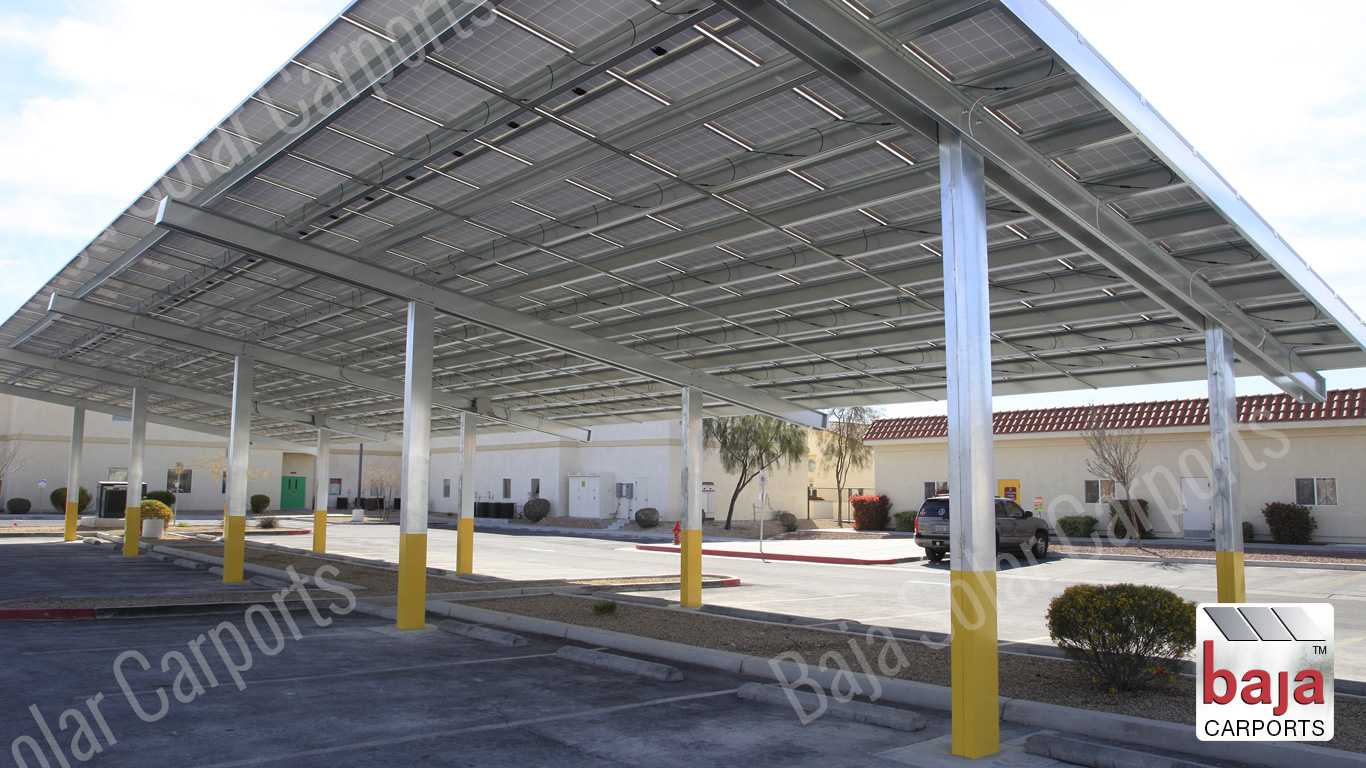 Solar Carports Pre-Engineered Frames Single Beam Post Back-to-Back