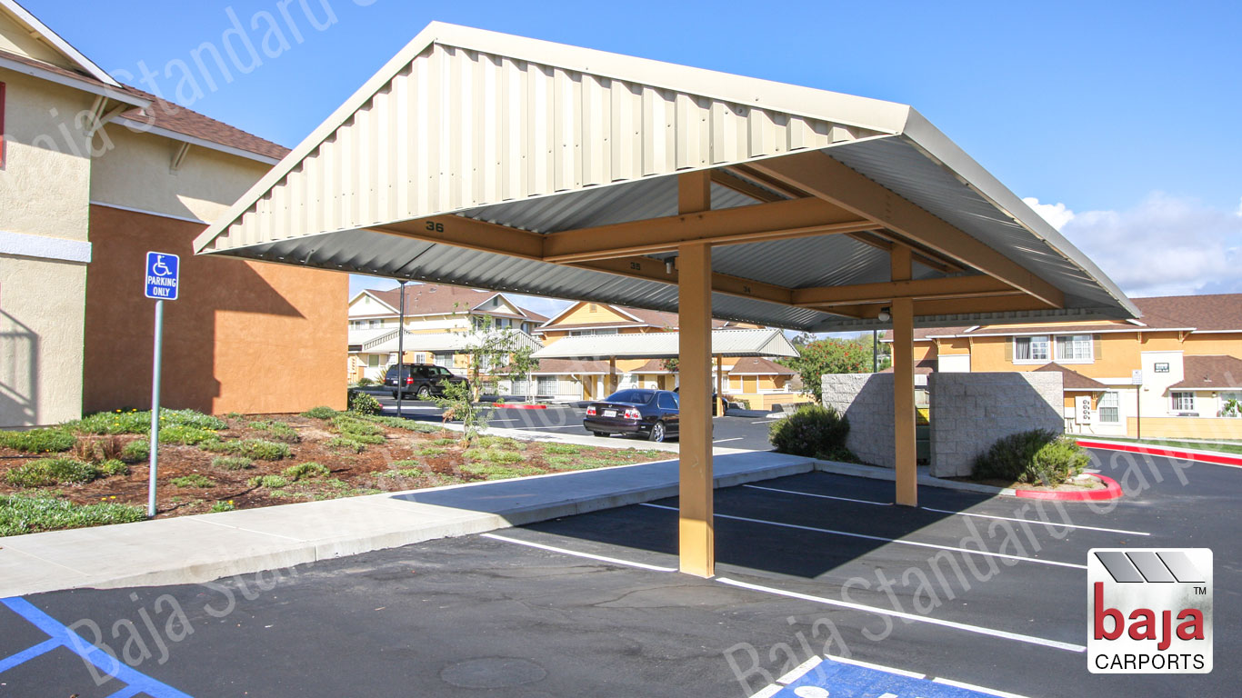 Steel Gable Standard Carport frame bolted connection at multifamily property